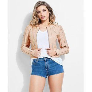 NWT Guess Ivonne Pink Faux Leather Moto Jacket